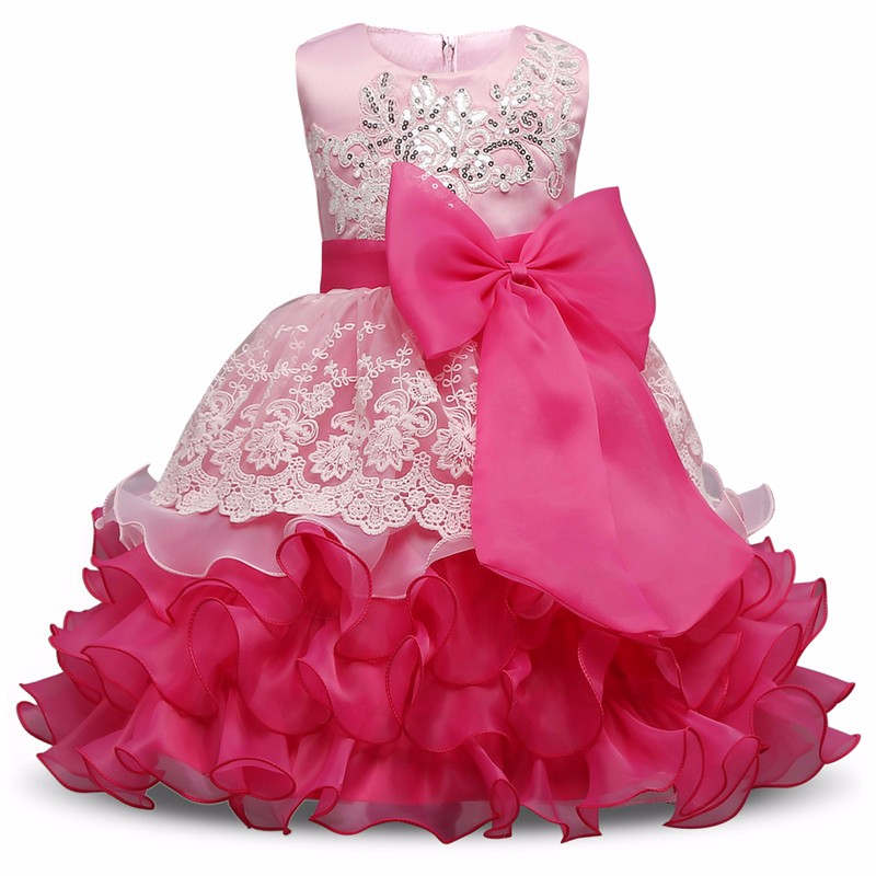 2017 Kids Party Dresses For Girls Wedding Birthday Lush Ruffles Tutu Big bow Children Costume Brand Baby Girl clothes girls dres<br><br>Aliexpress