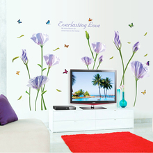 [Fundecor] purple pink lily wall stickers flowers living room bedroom bathroom glass home decoration art decals diy adhesives(China)