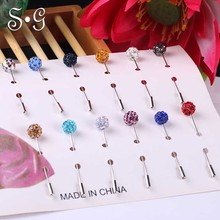 Wholesale 12pcs New Hijab Pins Rhinestone Muslim Hijab Brooches Pin For Women Safety Scarf Pin with pin cover