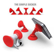 Adjustable Double Sucker Phone Stand with Winding Function Silicone Suction Cup Holder Anti-Slip Sucker Car Phone Holder Support(China)