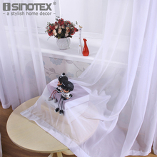 iSINOTEX Window Curtain Voile Fabric White Solid Transparent Sheer Living Room Tulle Voile Screening Drape Panel Home Decoration(China)