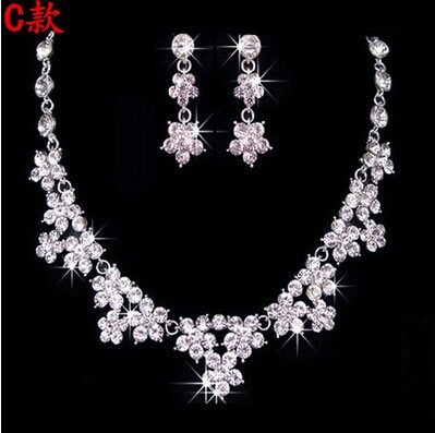 High Quality Silver Luxury Oversize Crystal Wedding Jewelry Sets Hollow-out Flower Necklace&Earrings Set For Woman (6)