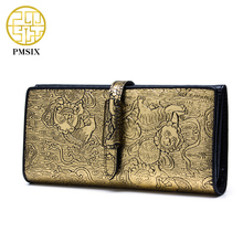 Pmsix Chinese Style Women Cattle Split Leather Wallet Fashion Gold Hasp Brand Design Casual Lady's Purse Women's Wallets