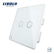 White Crystal Glass Panel, Wall Switch, VL-C302S-61,2 Gangs 2 Ways,Intelligent Double Control Touch Screen Home Light UK Switch