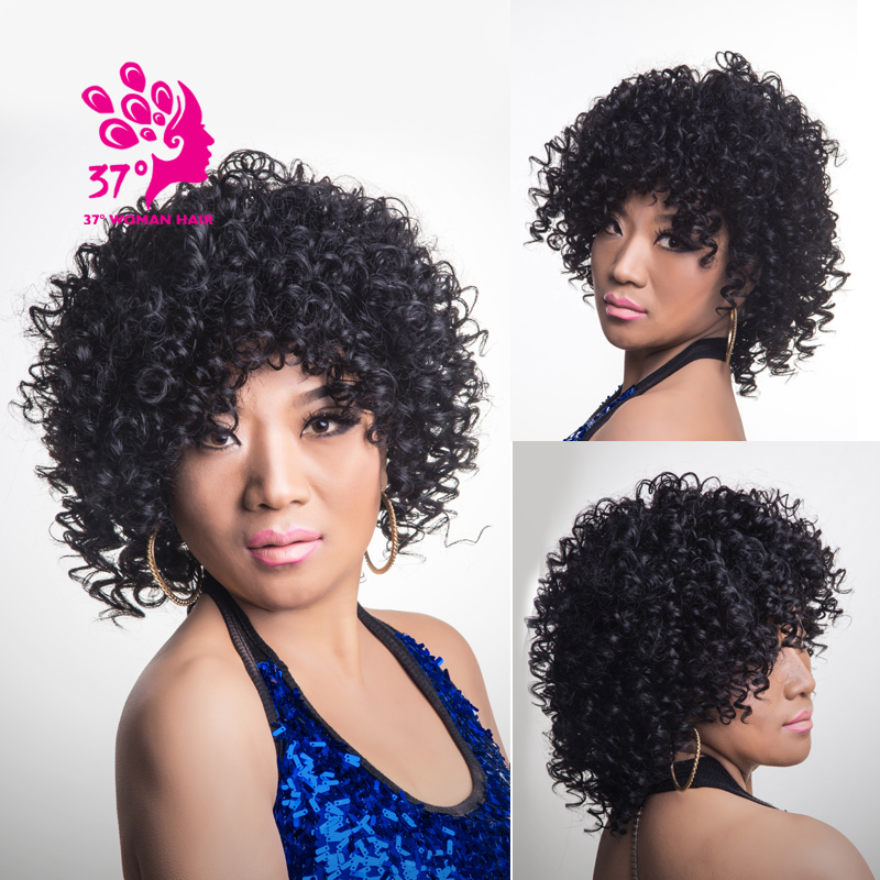 New Arrived Afro Kinky Curly Wigs Short Black Synthetic Hair Natural Wigs140g<br><br>Aliexpress