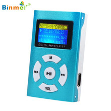 Binmer Mini USB Clip MP3 Player LCD Metal Mp3 Music Players Support 32GB Micro SD TF Card 5 Color 2017 Best Price