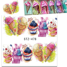 1 Sheets Sweet Dessert Nail Art Decorations Water Sticker Ice Cream Cake DIY Full Cover Nails Decals Nail Art Manicure CHSTZ478(China)