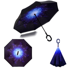 Ceiourich 3D Under The Rain Resplendent Star Sky Umbrella Women Umbrella Men Cover High Quanlity Double Layer Umbrella-001