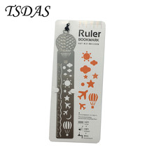 10PCS Ultra Thin Silver Tale Ruler Metal Bookmark With Fire Balloon Design, Cute Bookmarks For Books(China)