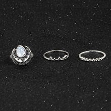 Sindlan Ring Fashion Simple Charm 3pcs / Set Wedding Jewelry Bohemian Vintage Carving Moon Opal Knuckle Ring For Women(China)