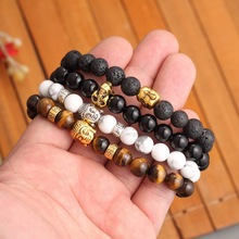 Pameng 16 Style Lava Buddha Skull head Beads Bracelets Natural Stone Bracelets For Women Men Jewelry pulseras Gold Color