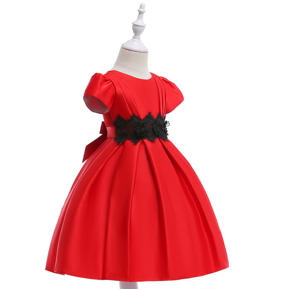 2019 New Arrival Little Girls Pageant Dress Red Color Ball Gowns lace Organza Flower Girl Dresses Brithday Party Dress Girl