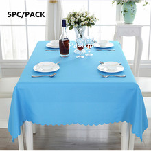 Free Shipping 5PCS High Quality Machine Washable Polyester White Table Cloths for Wedding Banquet Party Decor Hotel Table Linens(China)
