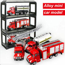 1:64 Mini Alloy Car Truck construction Engineering vehicles Fire truck Model Educational Alloy Toys for Children Baby boys(China)