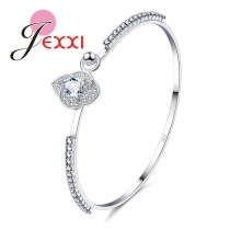 JEXXI Brand Design Fashion Leaf Shape Crystal Charm Bracelet Luxury Gifts 925 Stamp Women Silver Bangles Rhinestone Jewelry(China)