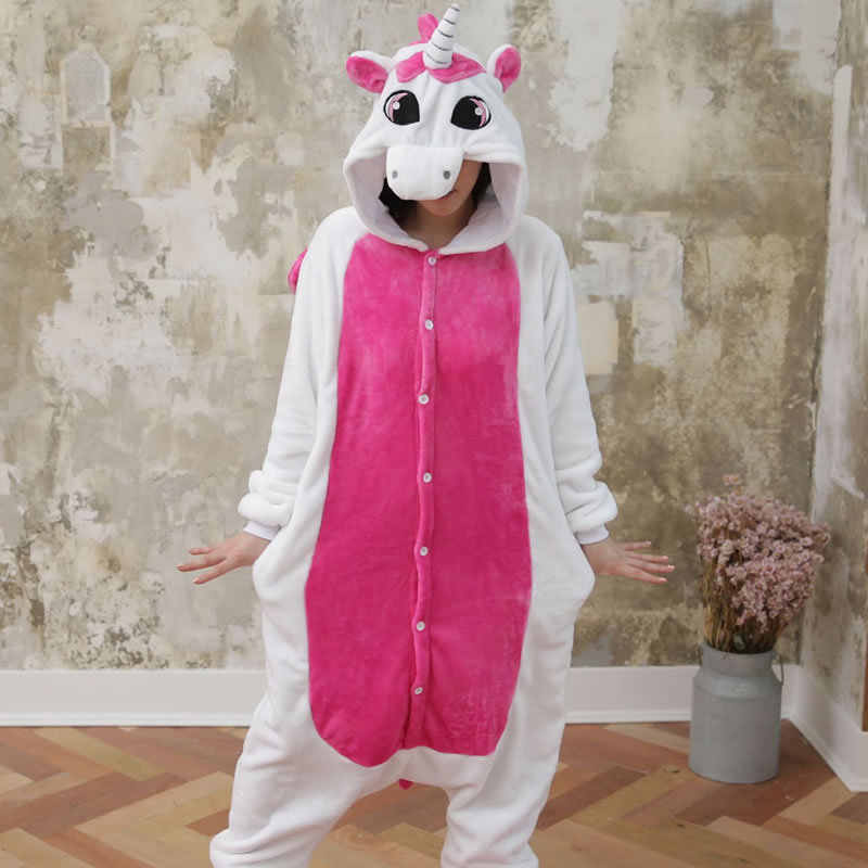 Взрослый милый мультфильм розовое животное стич кот Кролик единорог пижама  Зима с капюшоном фланели кигуруми длинный 51c9a13a829dc