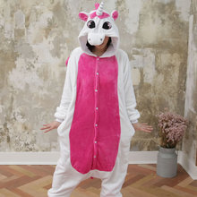 Kigurumi Cartoon Anime Pink Stitch Unicorn Pajamas For Women Ladies Cat Rabbit Winter Adult Pijamas Halloween Flannel Pyjama(China)