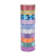 10PCS Size 1.5cm*3m Kawaii Scrapbooking Tools DIY Stripes Gold Glitter Star Heart Japanese Paper Foil Washi Tapes Masking Tape
