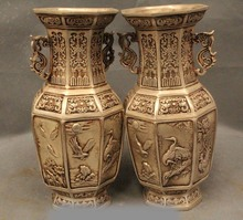 "9""Marked Chinese Silver Crane Eagle Fish Rooster Cock Flower Bottle Vase Pair(China)"