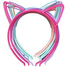 12pcs ABS Plastic Girls Cat Ears Headband Spring Colors Girls Hairband Head Band Baby Children Accessories