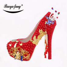 BaoYaFang New 14cm High shoes Red pearl crystal Womens wedding shoes Bride High  heels platform shoes for woman peacock d3cd152d456b