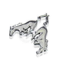 2pcs Car Styling Accessories Chrome Sliver Logo Running Horse ED Metal Auto Sticker Car Emblems Badges For Ford Mustang #5772