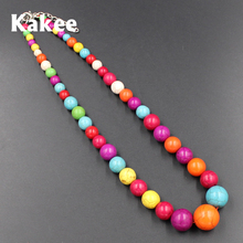 Kakee Tibetan Ethnic Minimalist Fashion Jewelry Round Strand Stone Bead Statement Turquoises Women Necklace Maxi Collar