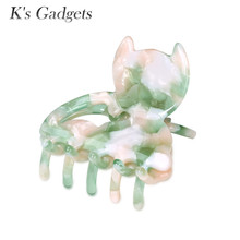 K's Gadgets Fashion Leopard Print Cellulose Acetate Hair Claw Clip Long Plastic Plant Clips Hair Clip Crab Claws Accessories