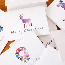 6 pcs/lot Christmas theme folding Merry Christmas message card with envelope New Year blessing greeting card Gift cards
