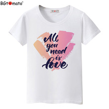 BGtomato New style super fashion cool T-shirts Women's love creative shirts Original brand good quality summer clothes