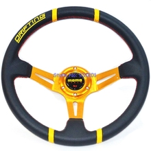 340mm MOMO Steering Wheel Deep Dish Racing Auto PVC Steering Wheel Gold Frame Red Stitching MOMO Wheels for Car()
