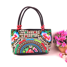 National Ethnic Embroidery Bags Women Double Faced Flower Embroidered One Shoulder Bag Small Clutch Wood Beads Handbag