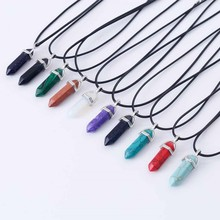 Hexagonal Column Natural Crystal Tiger Eye opal Bullet pendentif amethyste Stone Pendant Leather Chains Necklace For Women(China)