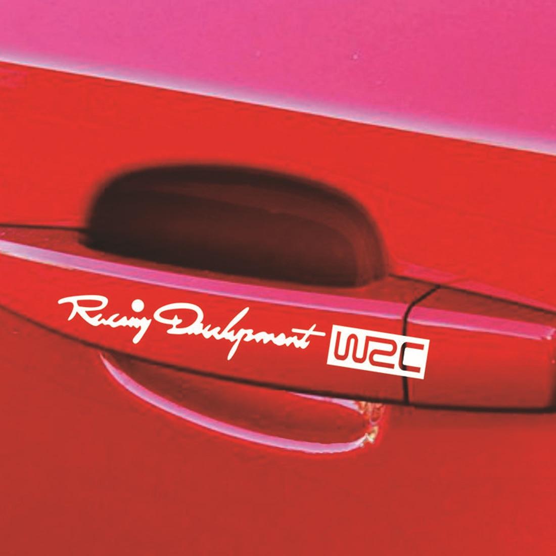 NEW Door Handle White /& Red Car Body Sticker Racing Development TRD  Set 4 Pcs