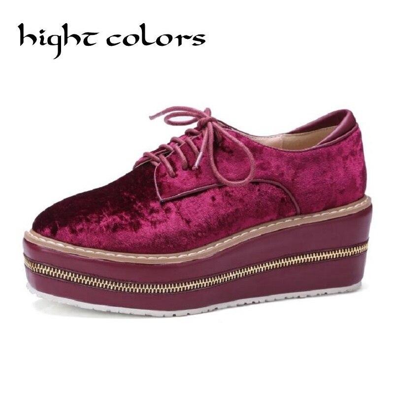 British college wind high-heeled shoes big size 40 48 velvet wedges Zipper decoration Lace up platform pumps creeper shoes<br>