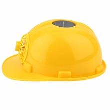 Men Women Yellow Solar Energy Safety Helmet Hard Ventilate Hat Cap Cooling Cool Fan Head Protect Equipment Protector(China)