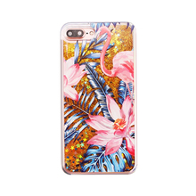 2017 Fashion flare star sequin liquid quicksand glitter monstera ceriman lotus flamingo tpu pc clear cell phones case For Iphone(China)
