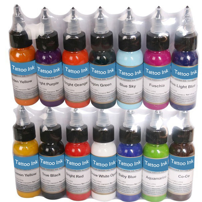 Tattoo Inks 14 Colors 30ml/bottle Tattoo Pigment Inks Set For Body Tattoo Art Kit Free Shipping by nani<br>