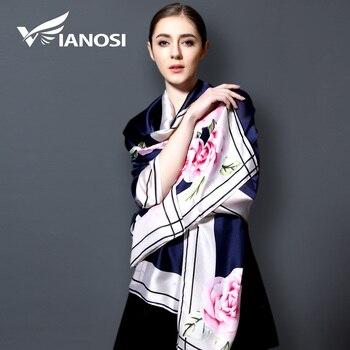 [Vianosi] 2017 100% lenço de seda bandana moda xales longos lenços mulheres lenço de impressão marca de luxo de ouro com praia