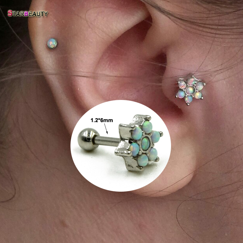 Tragus Helix Labret Ear Lip flower crystal  Piercing Jewellery Barbell