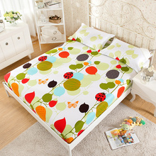 100% Cotton Modern Bed Sheets Colorful Cartoon Printing Bedding Fitted Sheet Simply Elastic Comfortable Mattress Cover Bedspread