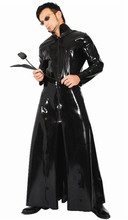 Buy Plus Size XL Women Men Sexy PVC Dress Halloween Cosplay Costumes Latex Coat Outwear Couples Faux Leather Latex Bodysuit