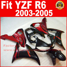 Red flames Body kit for YAMAHA R6 fairings 2003 2004 2005 YZFR6 fairing kit 03 04 05 bodywork kits V9B3