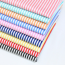 100% cotton twill cloth PINK AUQA GREEN BLUE BLACK RED YELLOW stripe fabric for DIY kids crib cushions handwork quilting textile(China)