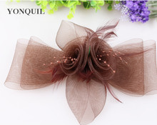 PROMOTION Ladies cheaper feather flowers with beads dec fascinators for party  hats bridal hair accessories cocktail hats  P09