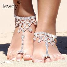 Bride New Rhinestone Flower Anklet Foot Anklet Summer Charm Toe Anklet Tassel Sandals Beach Foot Jewelry Gift(China)