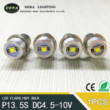 New design ultra bright 3w 3V 4.5v-10V 3.7v(3.4-4.2v) 5v-24V LED flashlight torch bulbs with cree chips p13.5s 5v 6v 8v 9v 4-12v(China)