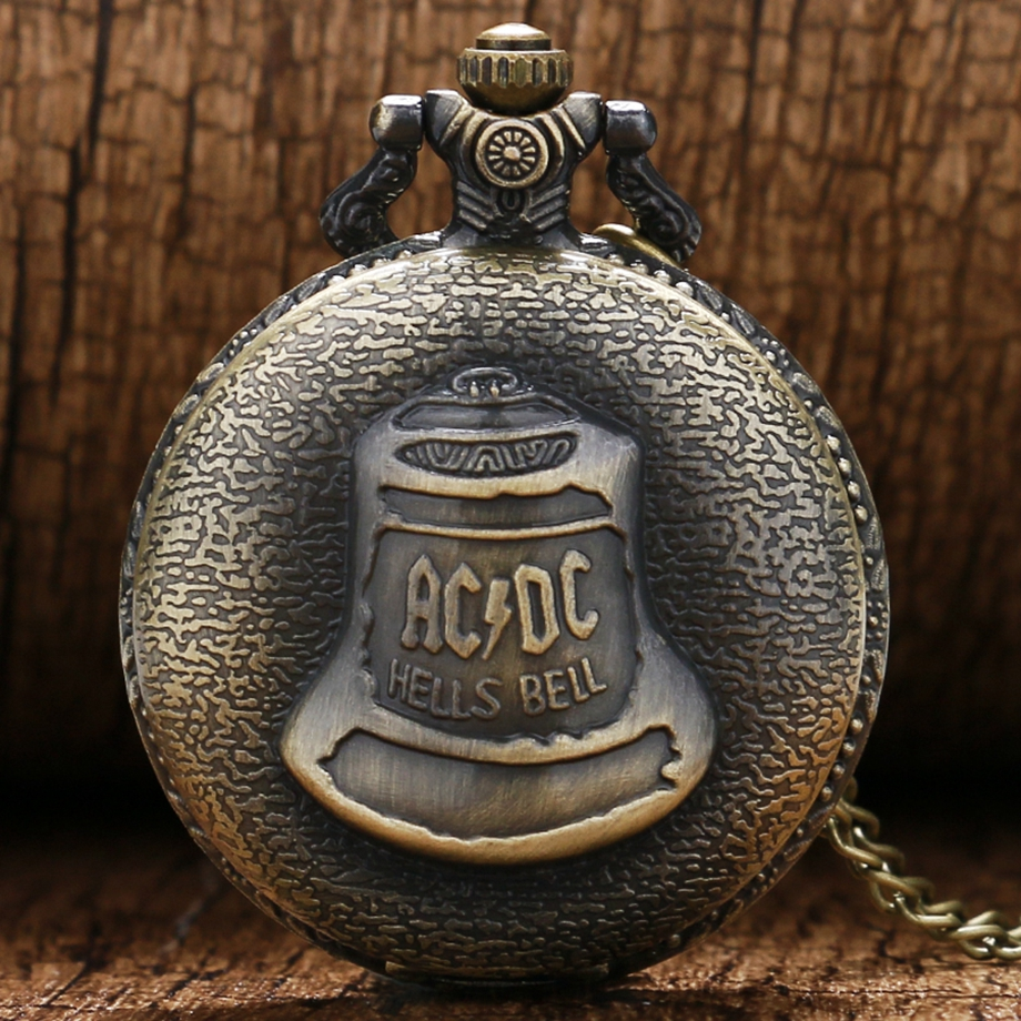 Antique Steampunk ACDC Hells Bell Quartz Pocket Watch Necklace Pendant Retro Men Women Xmas Gift (7)