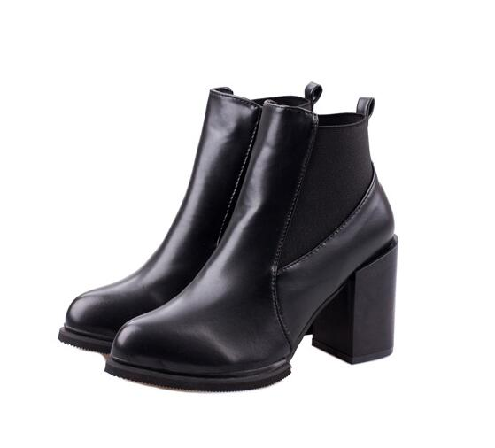 2015 autumn new Ladies shoes Martin boots fashion boots womens black red square heel ankle boots<br><br>Aliexpress