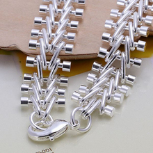 Men's Jewelry 13mm 20cm fish bone link chains 925 sterling silver bracelet bangles Bileklik holidays gift free shipping